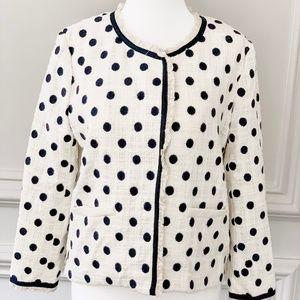J.Crew Size 6 Jacket White Black Polka Dot Tweed